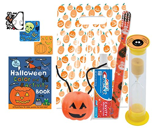 Happy Halloween Trick Or Treat Pre-Filled Bright Smile Oral Hygiene Goodie Bag! Toothbrush, Toothpaste, Brushing Timer & Pumpkin Tooth Saver Necklace! Plus Bonus Halloween -