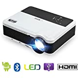 Android Wifi Wxga Projector, HDMI 1080P Support, 3600 Lumen with 200 Display LCD LED Wireless Video Projector Outdoor Theater Multimedia Compatile with Computer Laptop TV Stick Mobile Phone APPS