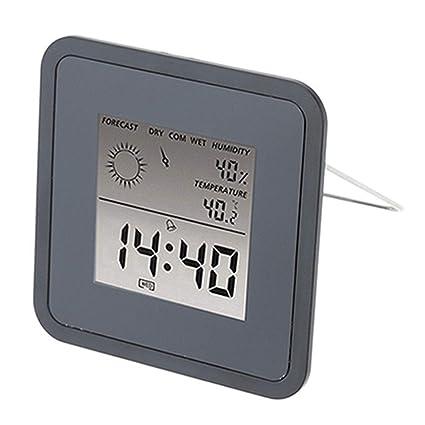 V.JUST Temperatura Interior Humedad Medidor Habitación LCD Termómetro Digital Higrómetro Estación meteorológica Reloj Despertador