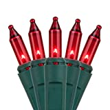 Holiday Essence - Set of 140 Indoor Red Synchronized Musical Twinkle Christmas Lights - Plays 25 Classical Holiday Songs - 8 Function Chaser - Green Wire - 26 Ft Wire Length - 2