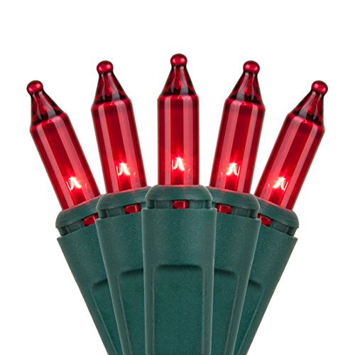 Holiday Essence - Set of 140 Indoor Red Synchronized Musical Twinkle Christmas Lights - Plays 25 Classical Holiday Songs - 8 Function Chaser - Green Wire - 26 Ft Wire Length, 2