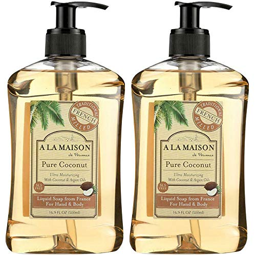 A La Maison de Provence Pure Coconut Liquid Hand and Body Soap (Pack of 2) With Argan Oil, Coconut Oil and Vitamin E, 16.9 fl. oz. Each