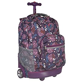 J World New York Sunrise Rolling Backpack 13 Telescoping single handle Front pocket organizer with pencil holder, key fob, and zippered pocket Air mesh cushioned padded shoulder strap and back with slip-in system