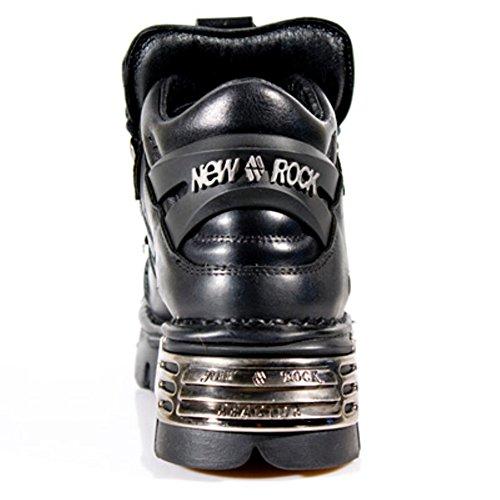 Cuir New Rock Unisex Noir Lace Up Chaussures avec un design de Spike et Pentagram Amulette