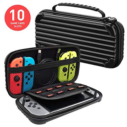 Meqi Protective Hard Shell Slim Travel Carry Case - Black - Nintendo ()