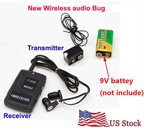 - MINI Wireless transmitter receiver Audio monitor Covert FM sound Listening Device Ear monitor