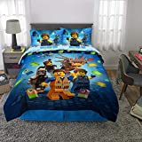 LEGO Movie 2 Kids Bedding Soft Microfiber Comforter and Sheet Set Full Size 5 Piece Pack Blue