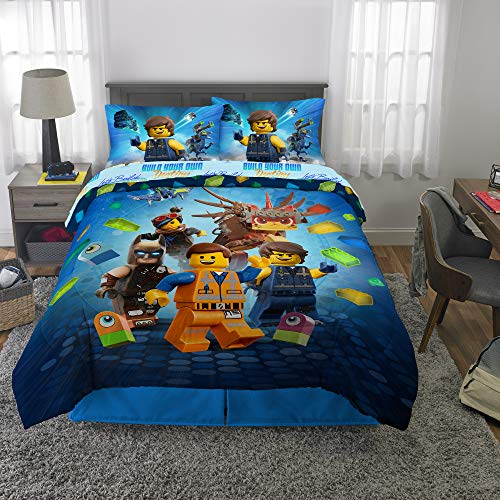LEGO Movie 2 Kids Bedding Soft Microfiber Comforter and Sheet Set Full Size 5 Piece Pack Blue