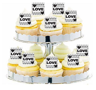 CakeSupplyShop Item#24358 Weding Love Black and White Cupcake / Food / Appetizer Decoration Topper Picks -12ct