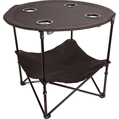 (Preferred Nation Folding Table, Polyester with Metal Frame, 4 Mesh Cup Holders, Compact, Convenient  Carry Case Included - Black)