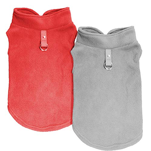 - Dog Coat Clothes, Chol & Vivi Dog Coat Cold Weather Fleece Vest Soft and Warm, 2pcs Dog Jacket Fit for Small Medium Extra Large Size Dog Puppy Pet, Extra Large Size, Grey and Red