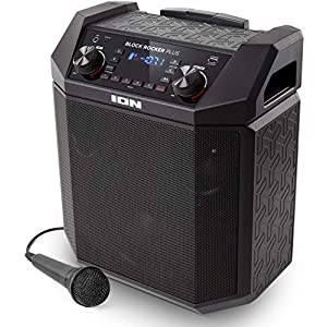 Ion Audio Block Rocker Plus, 100W Portable Speaker, Battery Powered with Bluetooth Connectivity, Microphone and Cable…