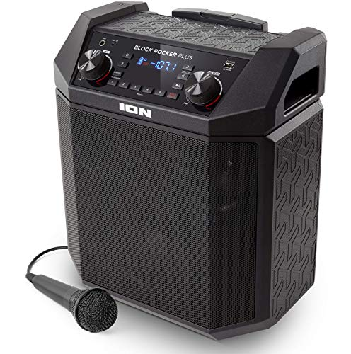 Ion Audio Block Rocker Plus, 100W Portable Speaker, Battery Powered with Bluetooth Connectivity, Microphone and Cable, AM/FM Radio, Wheels and Telescopic Handle and USB Charging (Renewed)