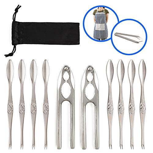 Premium Quality Seafood Set - Stainless Steel Tools - 2 Crab/Lobster/Nut Crackers-8 Seafood Picks/Forks-1 Fish Tweezers gift-1 Apron gift-Carry Bag, 12 Pieces/Box