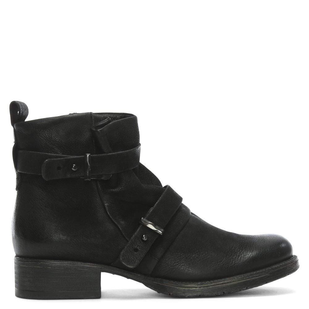 DANIEL Maxwell schwarz Leder Zwei Riemen Biker-Stiefel
