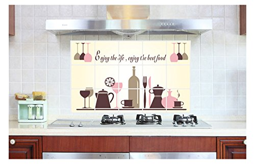 Bomeautify Murals Wall Stickers Red Wine Tableware DIY Wine Glass Kitchen Waterproof Removable Oil Stickers  Wallpaper