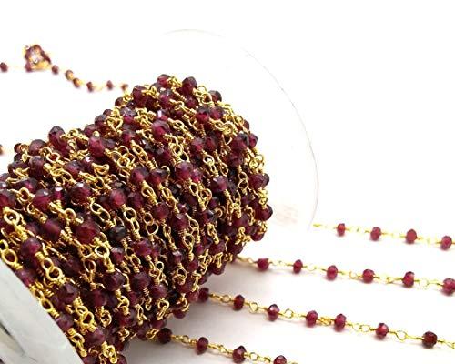 (10 Feet Garnet Beaded Chain - 24K Gold Wire Handmade Beaded Chain - Garnet Rosary Style Gold Wire Wrapped Chain - Size: 3mm by LadoNarayani )