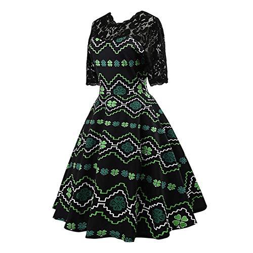 Estampado Estilo Isbxn de Style Retro de Vestido Multi Encaje Estampado con Temperamento colored Hepburn xpF6XFw