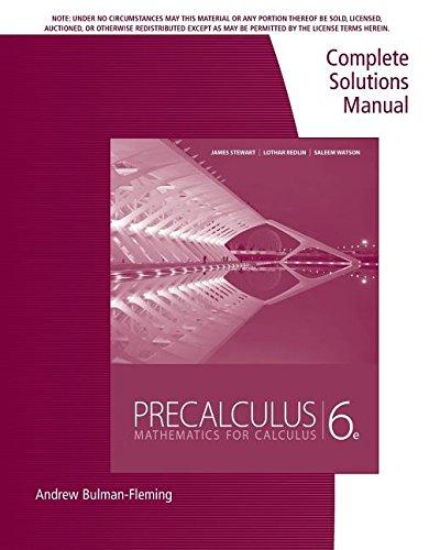 precalculus complete solutions manual mathematics for calculus rh amazon com Stewart Calculus Book Stewart Calculus Book