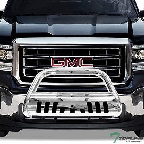 Topline Autopart Polished Stainless Steel Bull Bar Brush Push Front Bumper Grill Grille Guard With Skid Plate V2 For 07-18 Chevy Silverado/Tahoe / Suburban ; GMC Sierra/Yukon / XL 1500 ()