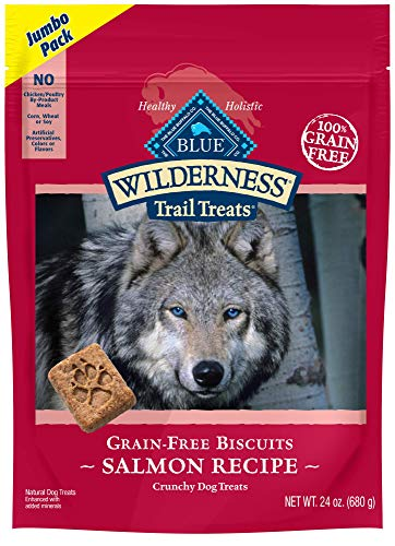 Blue Buffalo Wilderness Trail Treats Grain Free Crunchy Dog Treats Biscuits, Salmon Recipe 24-oz bag ()