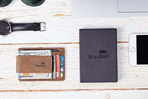 NapaWalli Genuine Leather Magnetic Front Pocket Money Clip Slim Minimalist Wallet (Crazy Horse Khaki) by NapaWalli (Image #6)