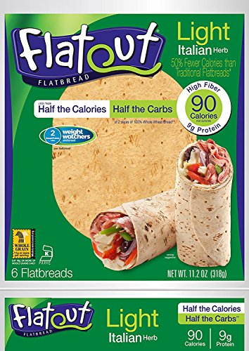FLATOUT Flatbread LIGHT ITALIAN HERB - 90 Calories - 2 Weight Watchers SmartPoints value per flatbread (1 Pack of 6 (1 Light Italian)