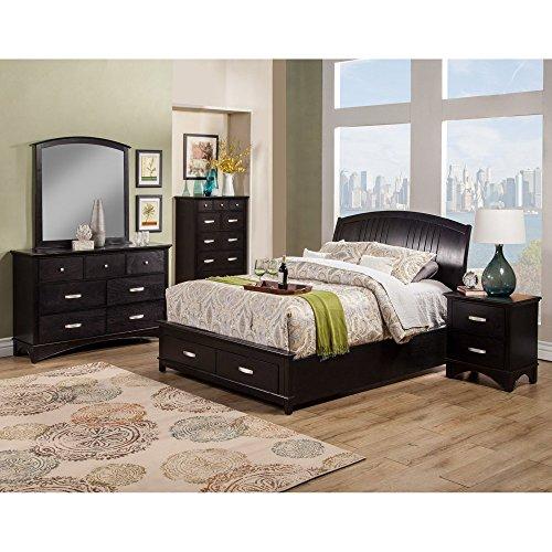 California King Mahogany Sleigh Bed - Alpine Furniture Madison Storage Platform Bed, Queen Size