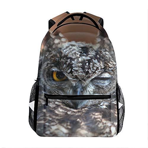 Owl Face Beak Feathers Wink Bird Backpack Boy Girls Shoulder School Bags