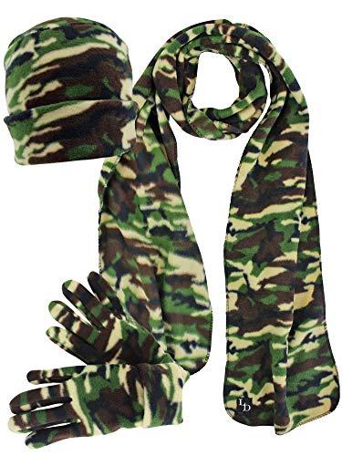 (Green Camouflage 3-Piece Fleece Hat Gloves & Scarf Set)