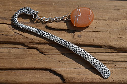 Carnelian Dragon - Carnelian Stone on a Dragon Shepherd's Hook Bookmark