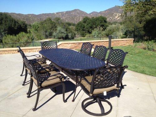Tropitone Aluminum Oval Table - Heritage Outdoor Living Nassau Cast Aluminum 9pc Outdoor Patio Set with 42