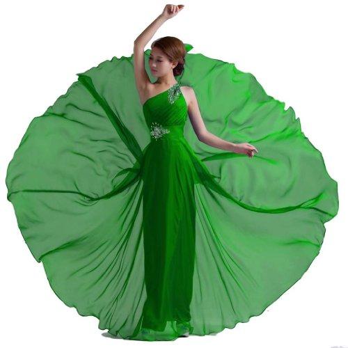 Dlfashion Une Épaule Robe De Bal En Mousseline De Perles Longueur De Plancher Vert