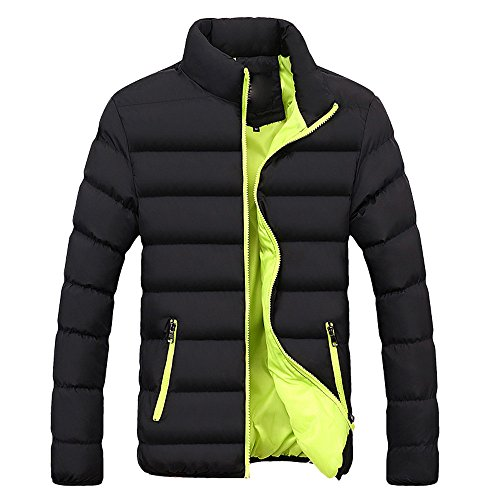HTDBKDBK Men Winter Fashion Warm Slim Fit Thick Bubble Coat Casual Jacket Parka Outerwear Packable Down Jacket Down Coat Green