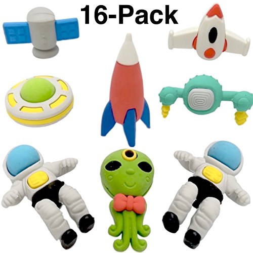 OHill Pack of 16 3D Outer Space Pencil Erasers Puzzle Erasers for Party Favors Supplies Classroom Treasure Box - Box Eraser