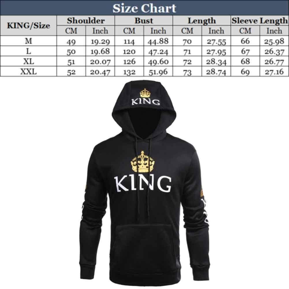 XIUYEE King Queen Matching Couple Pullover Hoodie Set Men Women Sweatshirts