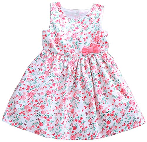 Girls Dress Sleeveless 100% Cotton Floral Butterfly Print Todder Party Little Girl Dresses 3T ()