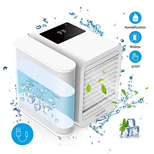 Personal Air Conditioner Air Cooler Fan, 3 in 1 USB Portable Mini Space Cooler, Evaporative Humidifier, Purifier, Cooling Fan for Home Offices Kitchen 2A Charger Included(White)