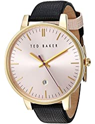 Ted Baker Womens Classic Quartz Stainless Steel and Leather Dress Watch, Color:Pink (Model: 10030740)