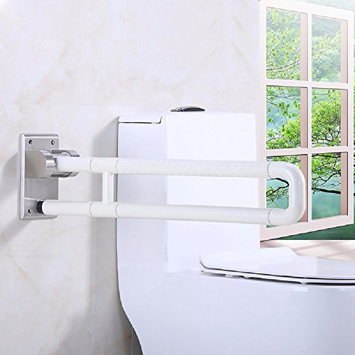 WAWZJ Handrail Bathroom Barrier Armrest Bathroom Old Man'S Foot Guard Stainless Steel Safety Toilet Toilet Folding Handle Handrail,60Cm,White by WAWZJ-Handrail
