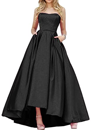 9ceecf36f6f1 Strapless Prom Dresses for Women High Low Long Satin Evening Gown with Pockets  Black Size 2