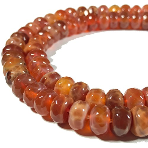 [ABCgems] African Fire Agate (Translucent- Beautiful Web Inclusions) 8mm Faceted Rondelle Beads (Agate Web)