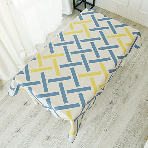 G 140180cm QQWWERTG Thick Bast Fibre And Leaf Fibre Refreshing bluee White Geometry Tablecloth Restaurant Creative Tablecloth Living Room Dustproof Antifouling Tablecloth,Model A,100  140Cm