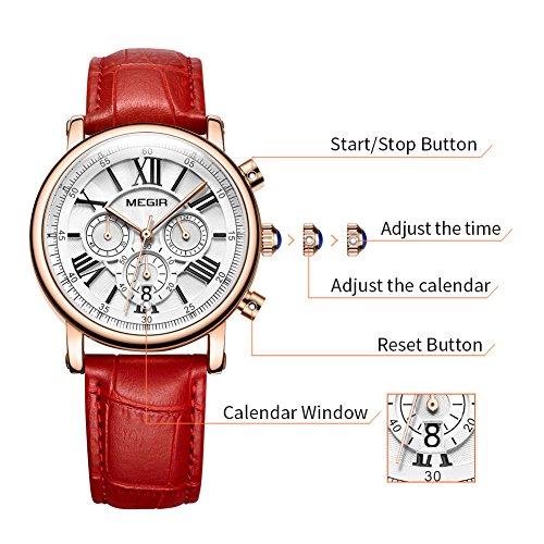 MEGIR Watches for Women Quartz Sport Chronograph Red Leather Strap Stylish Dress Wrist Watch by MEGIR (Image #6)