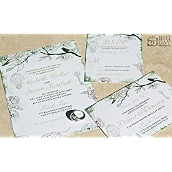 Le Birdcage and Sparrow Wedding Invitation Sample Set