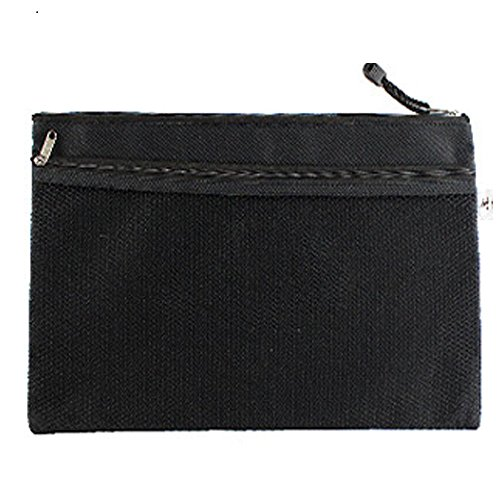 13-1/4 x 10 inch Size Document Folder File Bag Organizer Office Document Bags Pouch Holder Paper Pen Pencil Case Stationery Storage Bags Organizer (Color:Black) ()