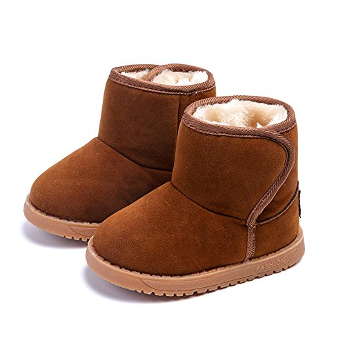 MK MATT KEELY Winter Warm Fur Boots For Toddler Boy Girl Soft Winter Khaki Snow Boots Plush - For Kids Boots Mk