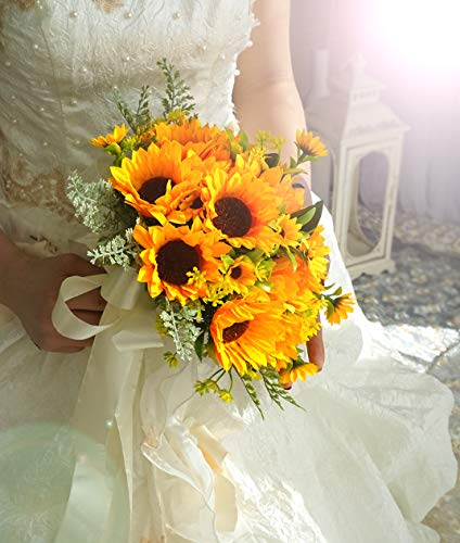 (U'Artlines Bridal Wedding Bouquet Romantic Handmade Holding Flower for Wedding Party Home Decoration (Sunflower Bouquet))