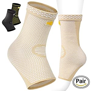 PURE SUPPORT Ankle Brace Sleeves with Best Compression - Effective Foot Pain Relief from Heel Spurs & Plantar Fasciitis - One Pair Socks for Womens, Men & Kids - Comfortable Fit & Highly Breathable …