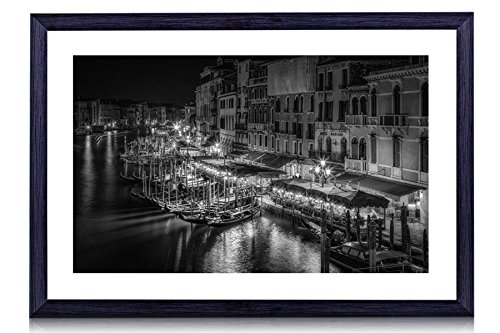 - Canal Grande, Venice, Italy - Art Print Black Wood Framed Wall Art Picture For Home Decoration - Black and White - 16